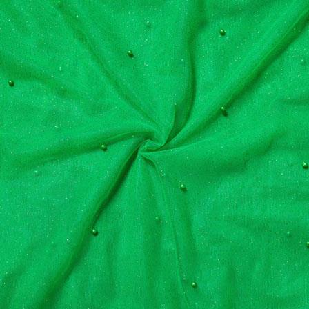 Green Green Net Embroidery Silk Fabric-18744