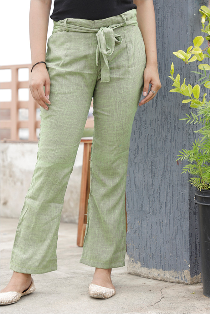 Green Handloom Cotton 2 Tone Narrow Pant with Belt-33902