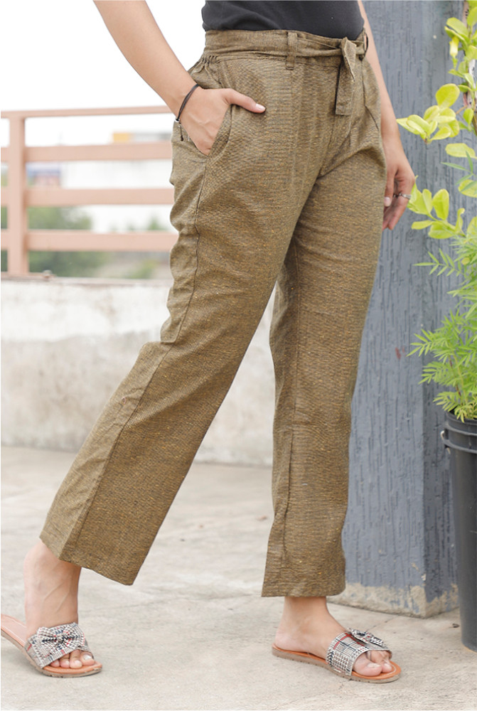 Green Handloom Cotton Texture Narrow Pant with Belt-33893