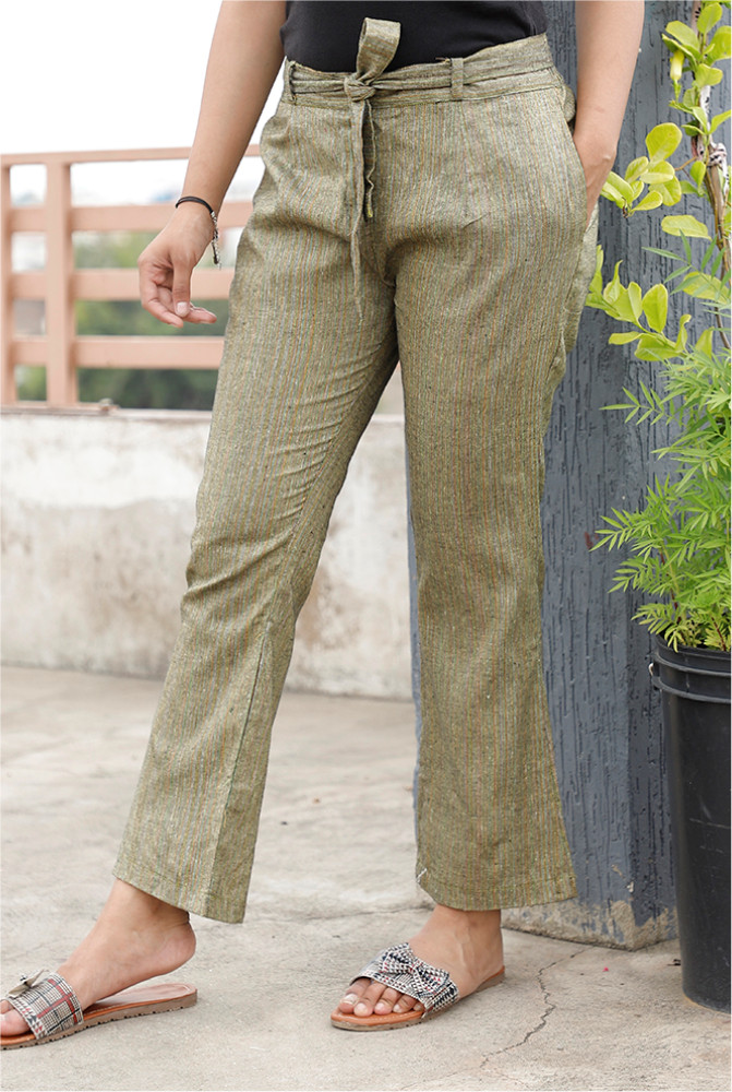 Green Handloom Cotton Texture Narrow Pant with Belt-33895