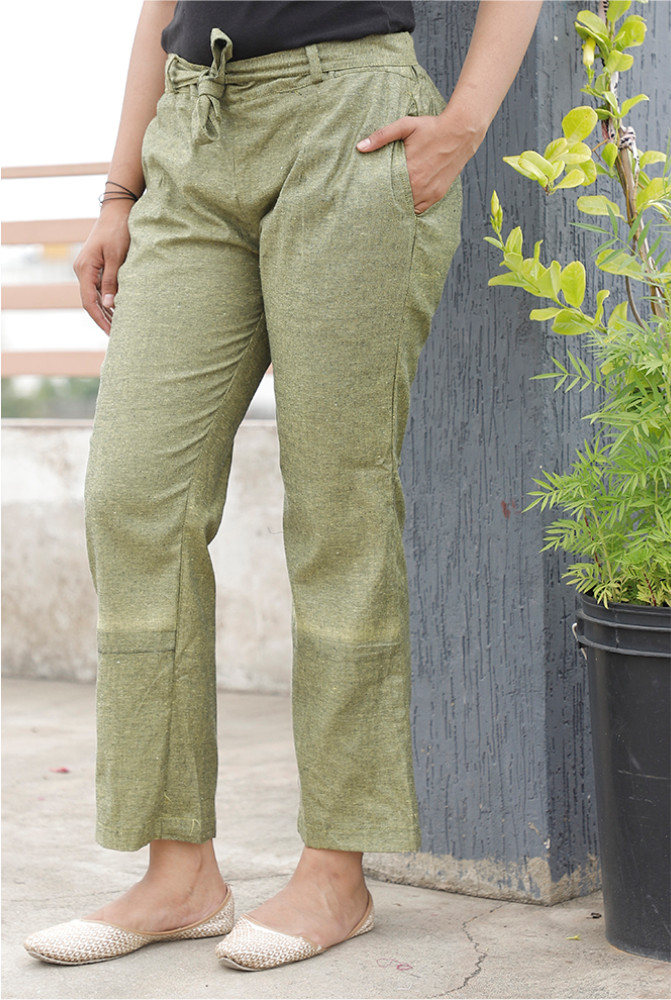 Green Handloom Cotton Texture Narrow Pant with Belt-33905