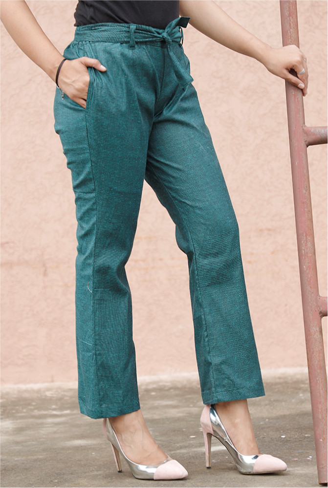 Green Handloom Cotton Texture Narrow Pant with Belt-33917