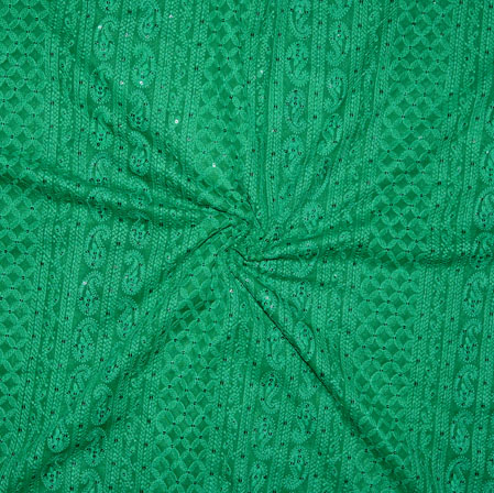 Green Lakhanvi Chikan Work Georgette Embroidery Fabric-19375