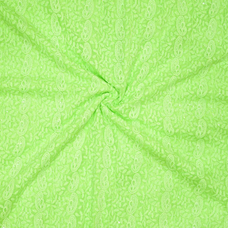 Green Lakhanvi Chikan Work Georgette Embroidery Fabric-19377