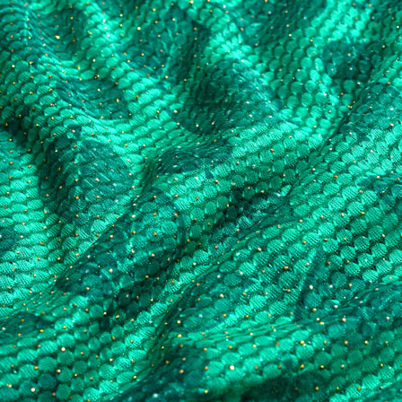 Green Leaf Pattern Lycra Fabric-6518