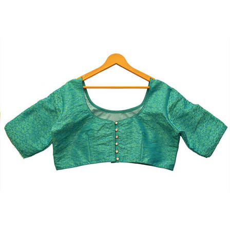 Green Leaf Silk Brocade Blouse-30127