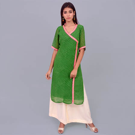 Green Leharia Georggette Kurti With Inner-22045