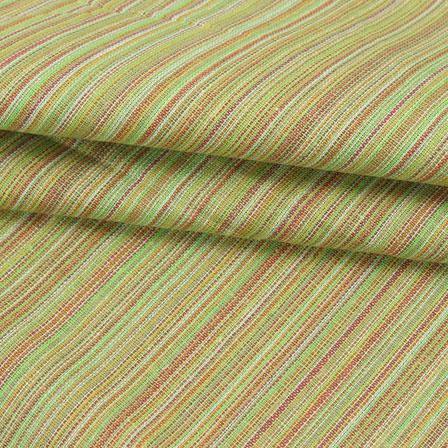 Cotton Shirt (2.25 Meter)-Green Multicolor Stripes Handloom Khadi-140664