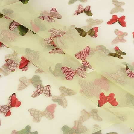 Green Net Fabric With Multicolored Butterfly Embroidery-60764