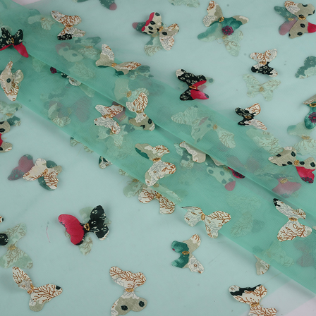 Green Net Fabric With Multicolored Butterfly Embroidery-60781