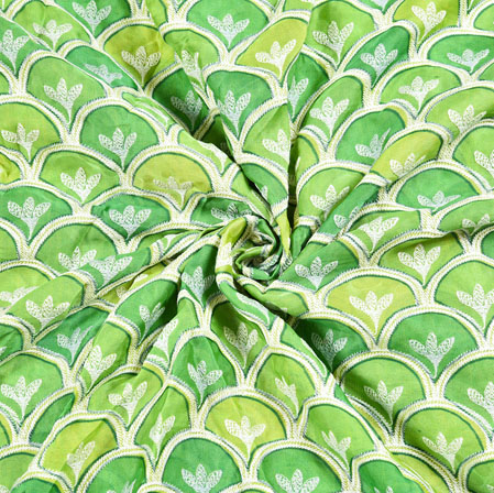 Green Olive Green Digital Position Print Chinon Embroidery Fabric-19314