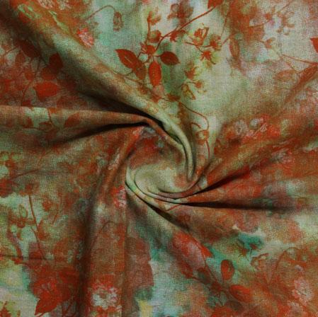 Green Orange Block Print Cotton Fabric-16218