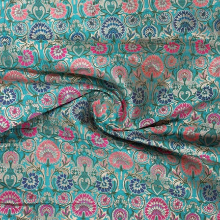 Green Orange Blue and Pink Floral Banarasi Silk Fabric-9309