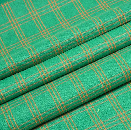 Green Orange Check Handloom Cotton Fabric-40875