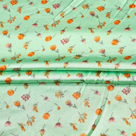 Green Orange Digital Flower Print Georgette Fabric-41201