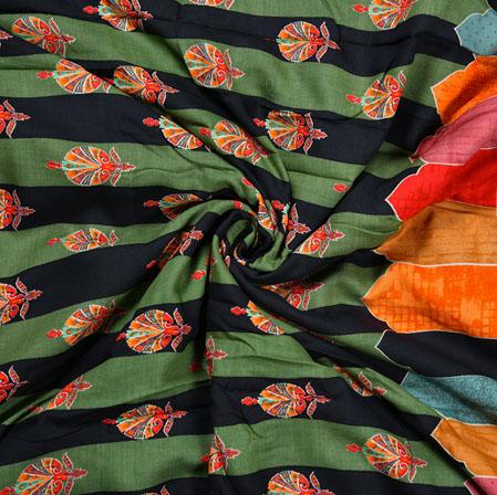 Green Orange Flower Cotton Print Fabric-28324