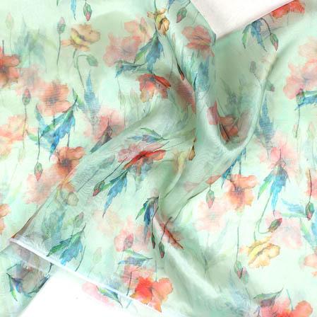 Green Orange and Blue Digital Floral Organza Silk Fabric-51755