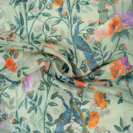 Green-Orange and Blue leaf and Peacock Design Organza Silk Fabric-51048