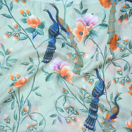 Green Orange and Blue Peacock Kota Doria Fabric-25124