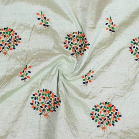 Green Orange and Golden Bamboo Embroidery Silk Fabric-61008