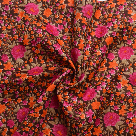 Green-Orange and Pink Flower Design Banglori Silk Fabric-4891