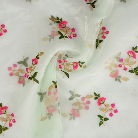 Green Organza Fabric With Golden and Orange Flower Embroidery-50081