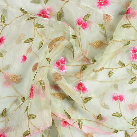Green Organza Fabric With Golden and Pink Floral Embroidery-50071