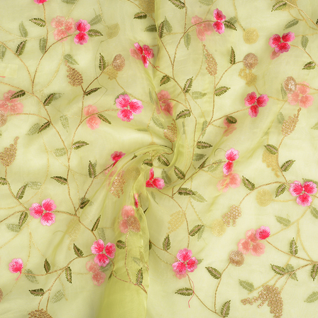 Green Organza Fabric With Golden and Pink Flower Embroidery-51060