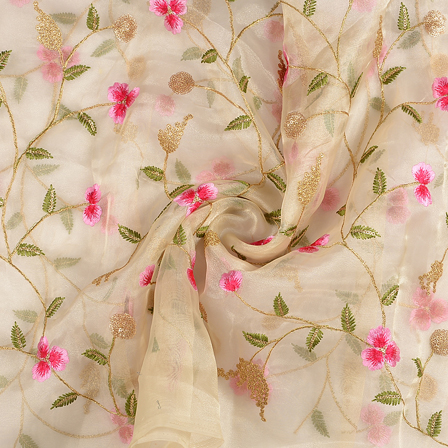 Cream Organza Fabric With Green and Pink Flower Embroidery-50078