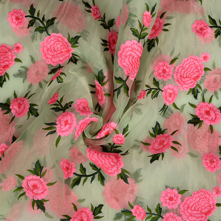 Green Organza Fabric With Pink Flower Embroidery -50095