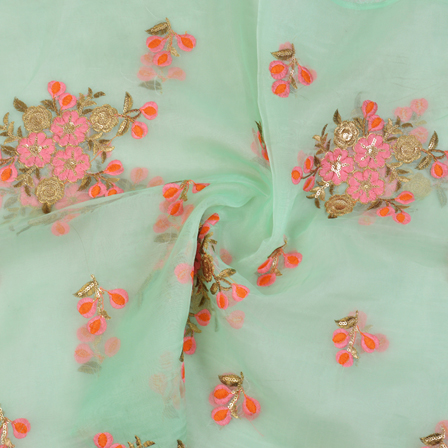 Green Organza Fabric With Pink-Orange and Golden Floral Embroidery-60063