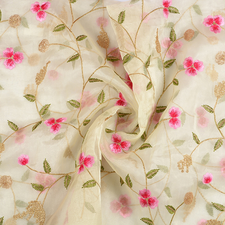 Green Organza Fabric With Pink and Golden Floral Embroidery-50070