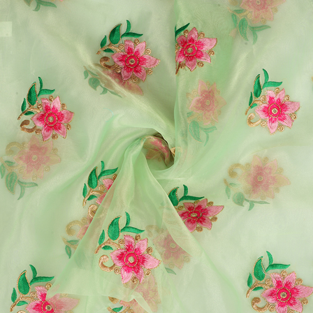 Green Organza Fabric With Pink and Golden Flower Embroidery-50082