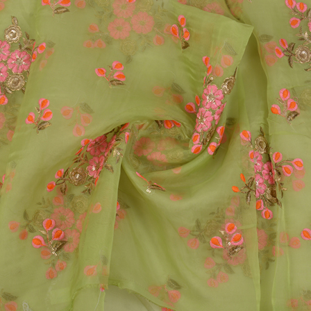 Green Organza Fabric With Pink and Golden Flower Embroidery-60065