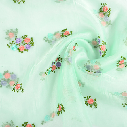 Green Organza Fabric With Purple and Pink Floral Embroidery-51255