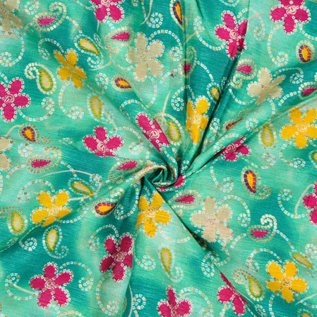 Green PInk and Golden Floral Banglori Silk Print Fabric-12814