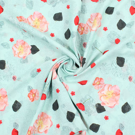 Green Peach and Red Flower Rayon Fabric-15069