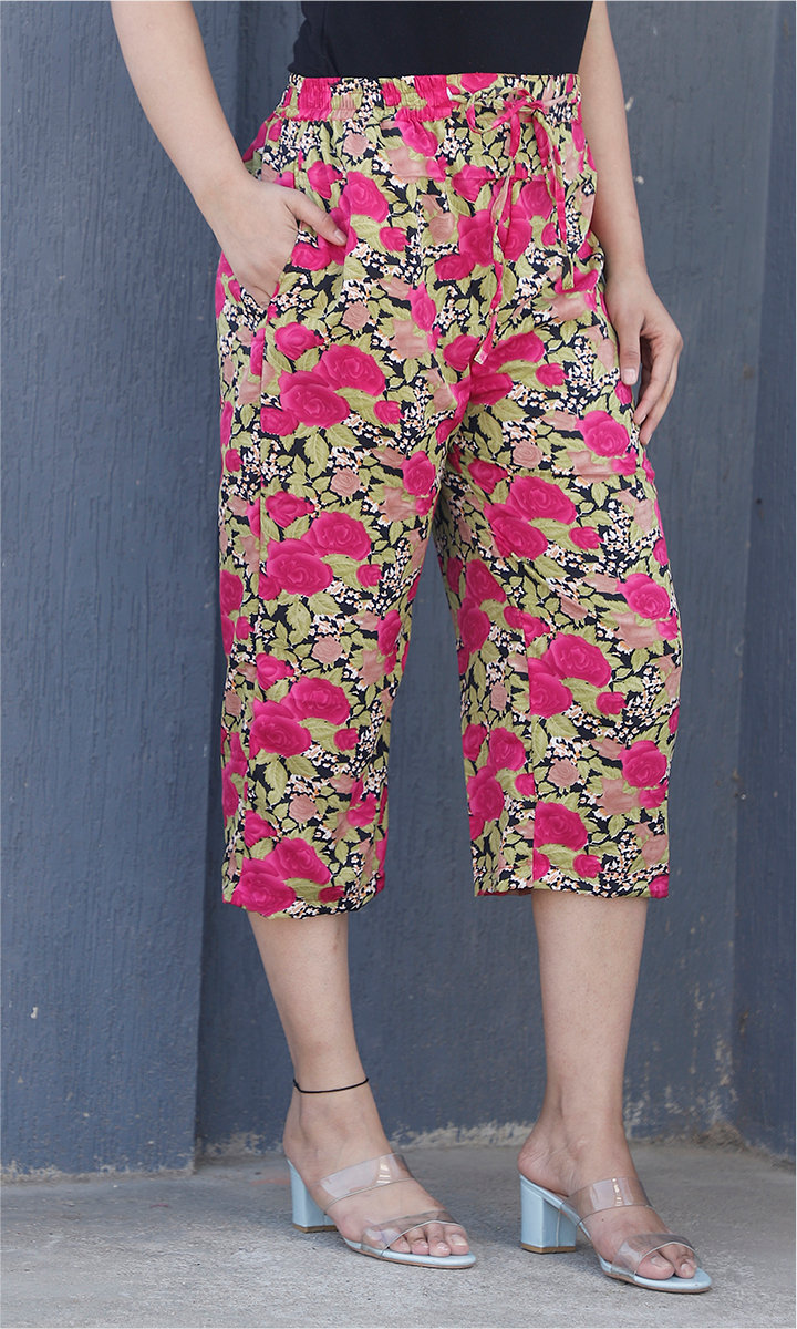 Green Pink Crepe Silk Women culottes-34435
