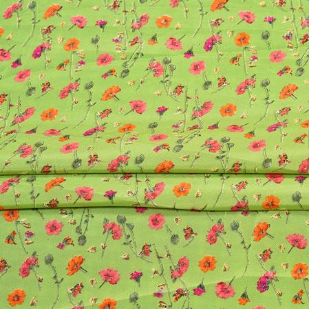 Green Pink Digital Flower Print Georgette Fabric-41178