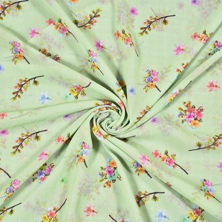 Green Pink Digital Flower Print Georgette Fabric-41188