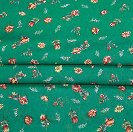 Green Pink Digital Flower Print Georgette Fabric-41215
