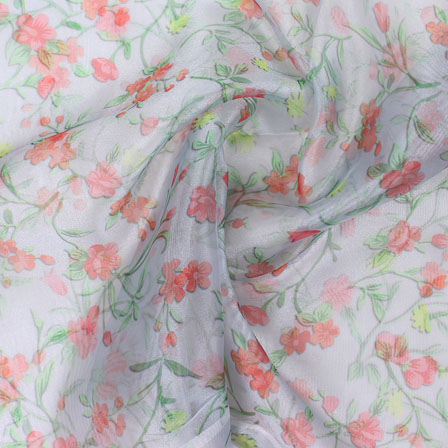 Green Pink Digital Organza Silk Fabric-51559