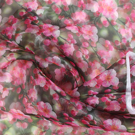 Green Pink Digital Organza Silk Fabric-51567