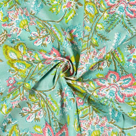 Green Pink Floral Block Print Cotton Fabric-28464
