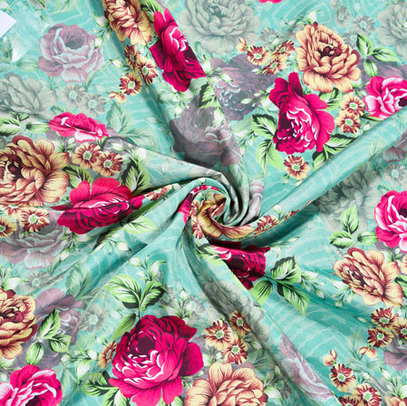 Green Pink Floral Crepe Silk Fabric-41020