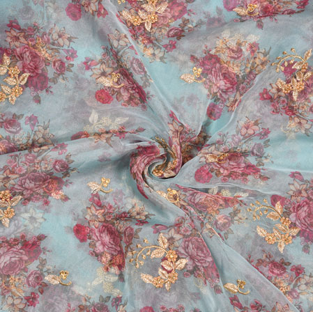 Green Pink Floral Organza Digital Embroidery Silk Fabric-22144