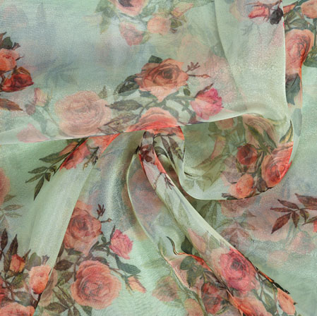 Green Pink Floral Organza Digital Silk Fabric-22374