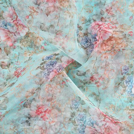 Green Pink Floral Organza Digital Silk Fabric-22396