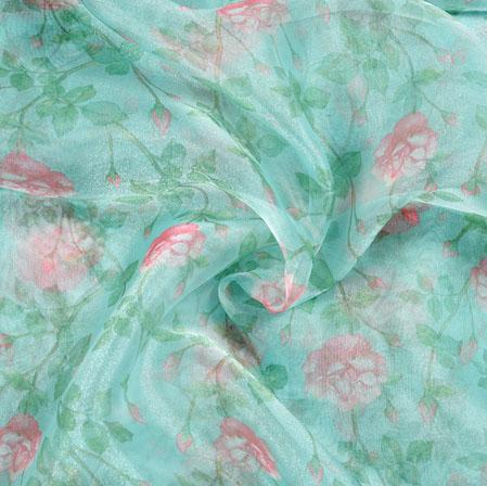 Green Pink Floral Organza Digital Silk Fabric-22398