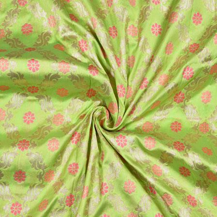 Green Pink Flower Brocade Banarasi Silk Fabric-12868